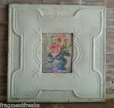 "Large Reclaimed Ceiling Tin Frame 8 x 10 Vintage Ivory  23"" x 23""  B20"
