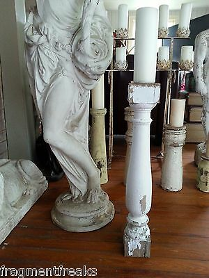 "One(1) 25"" Reclaimed Wood Victorian Baluster Candle Stand  Shabby White A23"