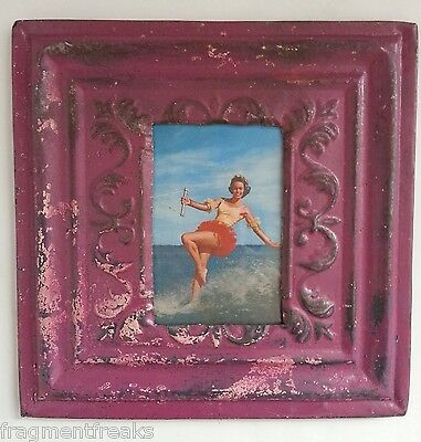 "Reclaimed Ceiling Tin Picture Frame 4"" x 6"" *See our Salvage Videos Plum M39"