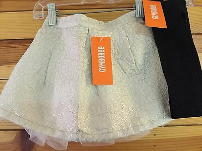 NWT GYMBOREE Girls CITY KITTY 3 Pc Gold Pleated Jacquard Skirt Sparkle Tights 3T