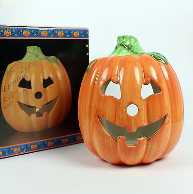 Halloween Votive Holder Ceramic Pumpkin JOL by Papel Bewithing Boo-tique Candle