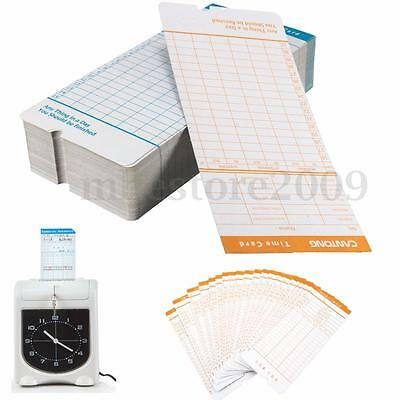 100Pcs Monthly Time Clock Cards For Attendance Payroll Recorder Timecards New