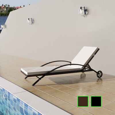 #bNew Outdoor Furniture Rattan Lounge Sun Bed Lounge Chair Recliner Brown/Black