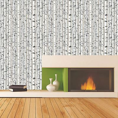 Tree Branches Wallpaper - Grey & White - 1279 Debona New Forest Silver Birch