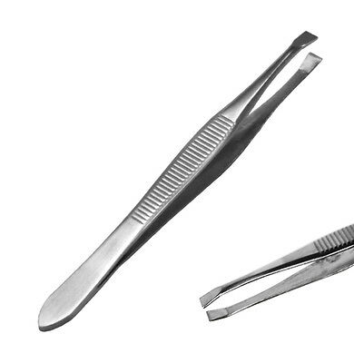 Tweezers Eyebrows Hair Beauty Square Tip Edge Stainless Steel Tweezer Silver