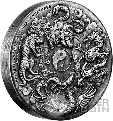 CHINESE ANCIENT MYTHICAL CREATURES High Relief 2 Oz Silver Coin 2$ Tuvalu 2016