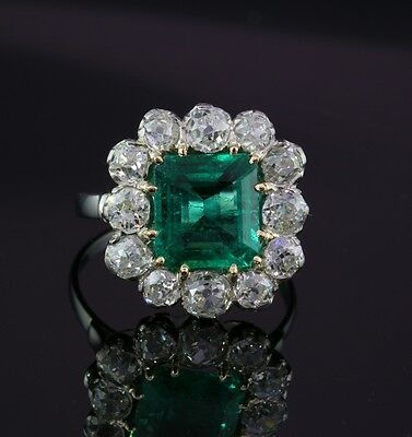 Exceptional Art Deco Natural Emerald & Old Mine Cut Rare Platinum Ring!
