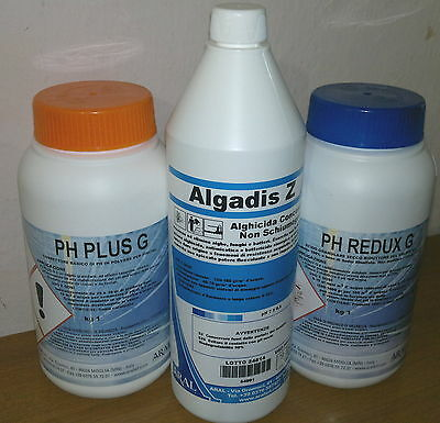 1Lt Antialghe Algadis Z Concentrato +1kg PH Redux +1kg PH Plus Granulare Piscina