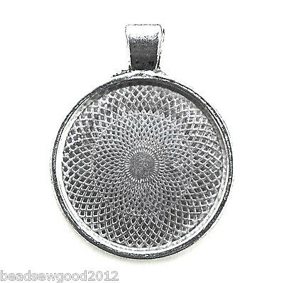 5 ANTIQUE SILVER TONE ROUND CABOCHON SETTINGS 25mm inner tray Pendant Blanks