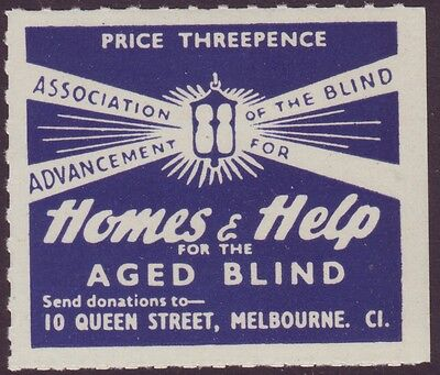 "3d CINDERELLA LABEL ""HOMES AND HELP FOR THE AGED BLIND"" MINT UNHINGED (A6141)"