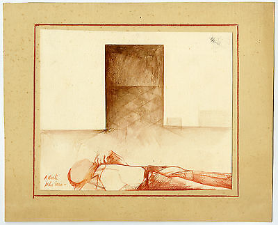 Antique Drawing-MAN-TOMB-Harta-ca. 1940