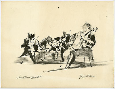 Antique Print-MUSIC-AMADEUS QUARTET-CHAMBER MUSIC-Sjollema-ca. 1955