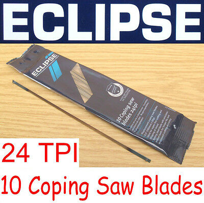 "New Eclipse 10 x 24 TPI Coping Saw Wood Blades 165mm / 6.5"" Long Super Fine Cut"