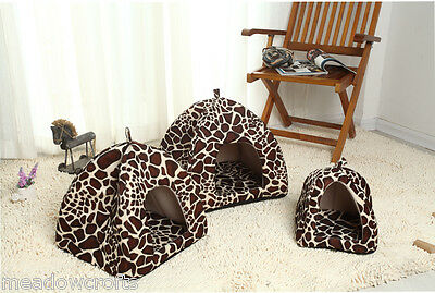 Leopard Kennal NEW 3 Sizes Soft Material Bed House Basket Dog Cat Pet Igloo