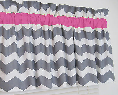 Pink and Gray Chevron Window Valance Zig Zag Bath Bedroom Girl Nursery FREE SHIP