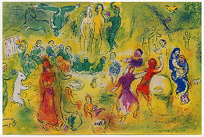 Antique Print-WEDDING FEAST-DAPHNIS & CHLOE-NYMPH-GROTTO-Chagall-1977