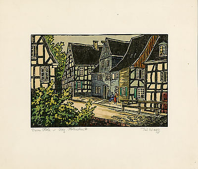 Antique Print-WOODEN-HOUSE-STREET-GERMANY-Wolff-ca. 1960