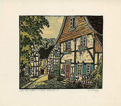 Antique Print-HALF TIMBERED-ALT SONNBORN-GERMANY-Wolff-ca. 1960