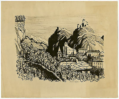 Antique Print-LANDSCAPE-SWITZERLAND-VILLAGE-VINEYARD-Stauffer-ca. 1930