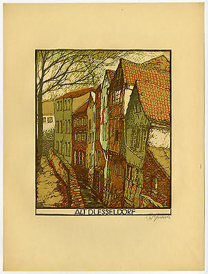 Antique Print-VIEW-OLD-DÜSSELDORF-HOUSE-Gruszka-ca. 1930