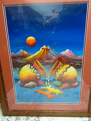 Original Painting Navajo Pots Moon Mexico Colorful Acrylic Signed Ja'come 2000