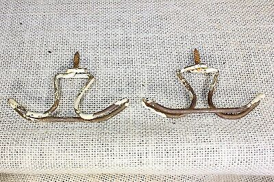 2 Coat hooks under shelf vintage farm schoolhouse rustic twisted wire primitive