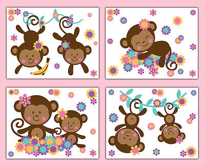 Monkey Nursery Prints Wall Art Girl Jungle Safari Animal Floral Baby Room Decor