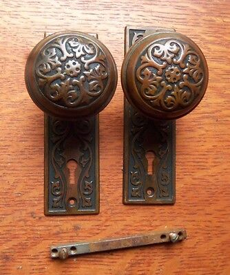 Antique Fancy Brass Victorian Doorknobs Door Knobs & Plates by Sargent c1900