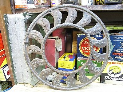 HEAT VENT antique round cast iron ornate ceiling grate register original 1900's