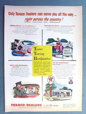 8 x 11 Original 1955 Texaco Ad DEALERS SERVE YOUR RICHT ACROSS THE COUNTRY