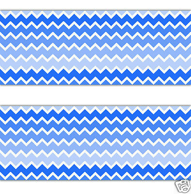 Blue Ombre Chevron Wallpaper Border Wall Decals Baby Boy Nursery Stickers Decor
