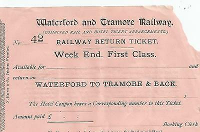 ireland rare waterford and tramore railway 1860s first class ticket