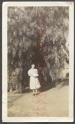 Vintage 1940 Photo Mother Alone w/ Her Birthday Cake Under Pepper Tree 665827