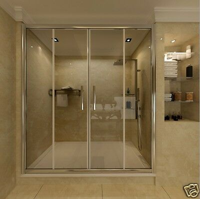 1400x900mm Sliding Shower Enclosure Glass Screen And Stone Tray Double Door