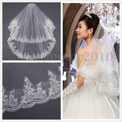 2 T Wedding Bridal Veil Dress Applique Lace Edge Elbow With Comb White Ivory US