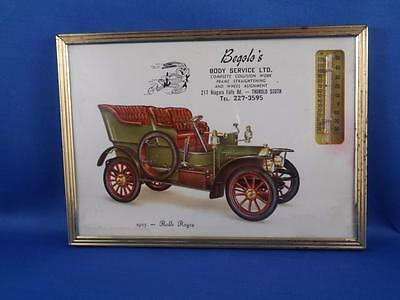 Sign Thermometer Begolo's Body Service Thorold South Ontario 1905 Rolls Royce