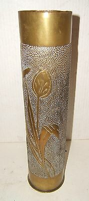 WW l French Trench Art Large Artillery Shell w Floral Design Art Noveau #2