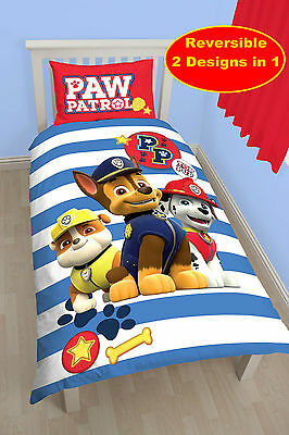 "New Paw Patrol ""pawsome"" Single Duvet Quilt Cover Set Blue Kids Boys Bedroom Bed"
