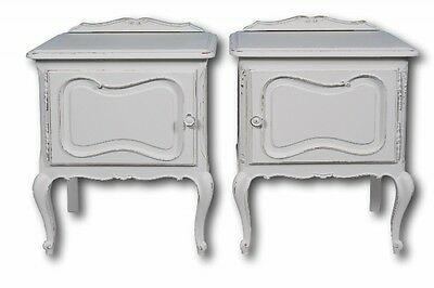 Pair of Original French Antique White Painted Bedside Cupboards