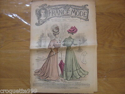 1906 FRANCE MODE 34 Journal de 8 pages ART NOUVEAU MR FLECK fashion vintage