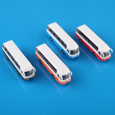 4pcs Painted Model Cars Buses 1:150 N Scale Railway Layout Plastic