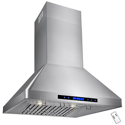 """30"""" Stainless Steel Wall Mount Range Hood With Touch Screen Panel For Kitchen"""