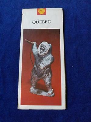 Map Vintage 1966 Quebec Canada Eskimo Carving Cover Shell Gas Advertising