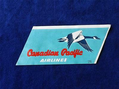 Canadian Pacific Airlines Suitcase Luggage Label Tag Travel Vintage