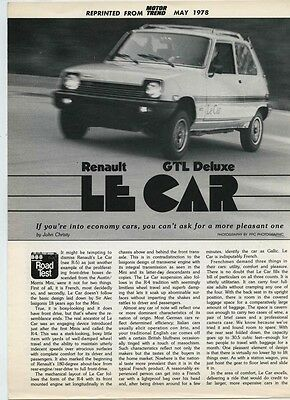 1978 Renault 5 Le Car GTL Deluxe Roadtest Brochure my6087