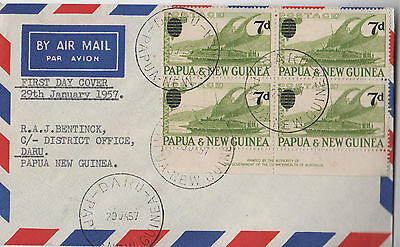Stamps 7d PNG 1957 surcharge imprint block of 4 on airmail cover first day DARU
