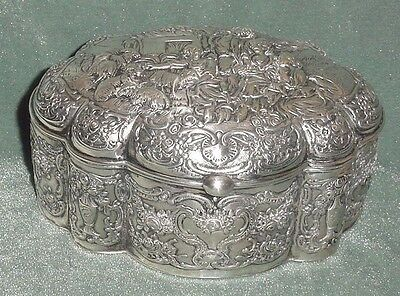 """Vermeil Silver 800 Hallmarks Box 6"""" Chiselled Countryside Sheeps Roses Garlands"""