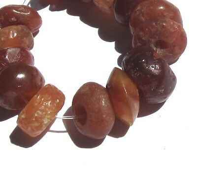 15 Rare Beautiful Ancient Small Carnelian Agate Mali Disk Beads