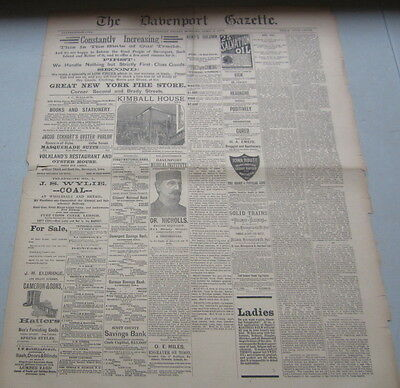 Old 1886 - Davenport IOWA - Newspaper - KIMBALL HOUSE - Illustrated Advertising