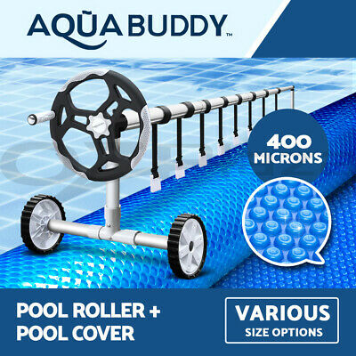Aquabuddy Solar Swimming Pool Cover Roller 400 Micron Outdoor Bubble Blanket
